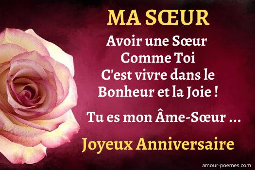 Jolie carte bon anniversaire pour sa soeur - message frande soeur ou petite soeur de la part d'un frère